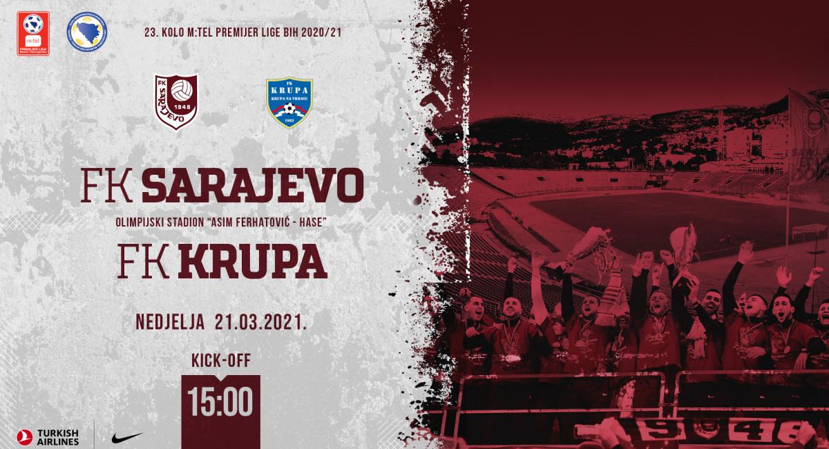 FK Sarajevo treći krug prvenstva otvara utakmicom protiv FK Krupa